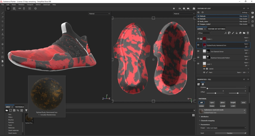 Substance Painter Displacement Footwear Design by Hussain Almossawi 16