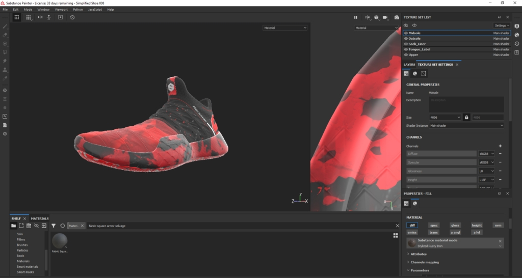 Substance Painter Displacement Footwear Design by Hussain Almossawi 21