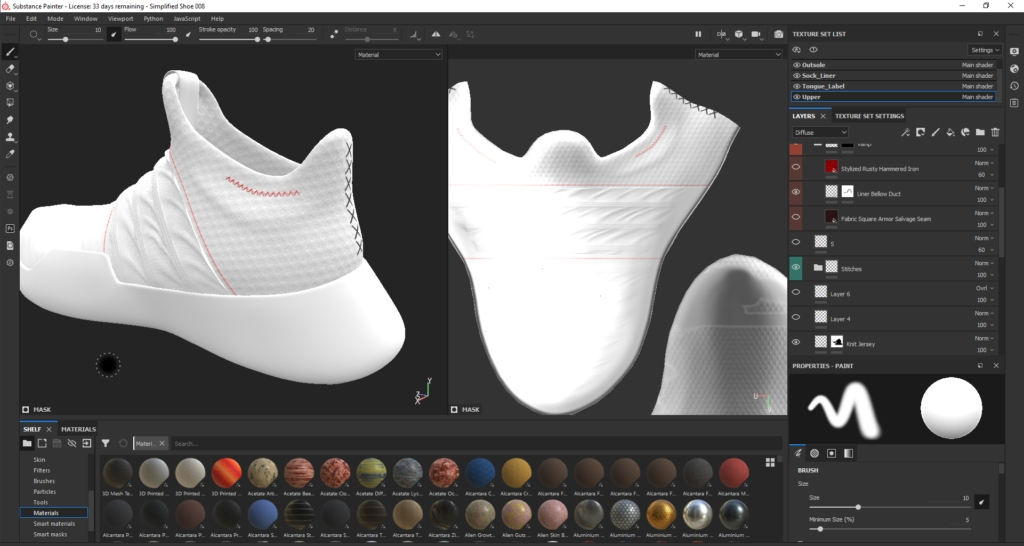 Substance Painter Displacement Footwear Design by Hussain Almossawi 9